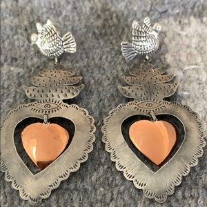 Silver heart and dove earrings